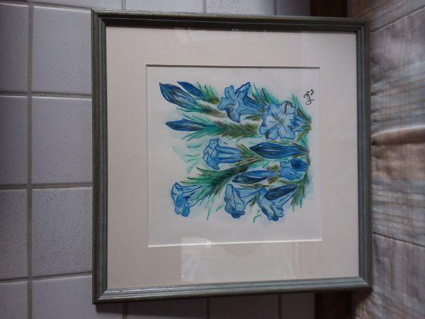 Aquarell-Bild mit Enzian - Sylter Maler
