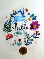 Textile Aufkleber Hello Spring noch