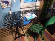 Schreibtisch mit Glasplatte IKEA