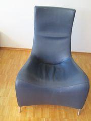 Hochlehner mit Lederbezug Sessel aus