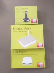Schnurlostelefon Festnetz Breitband-Modem und Splitter
