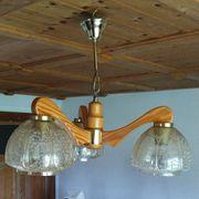 Hängeleuchte 3-armig Holz und Glas