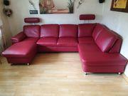 Hochwertige rote Leder Couch
