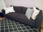 Schickes 3er Sofa Stoffbezug anthrazit