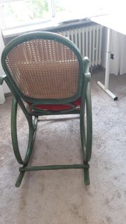 Schaukelstuhl grün Sitz und Rückenlehne