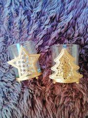 2 Glas Teelichthalter Weihnachten neu