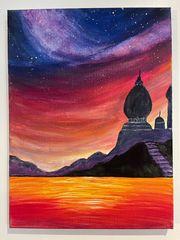 Gemälde Acrylbild Sunset and Stars