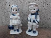 Porzelanfiguren-Paar Junge Mädchen Vintage