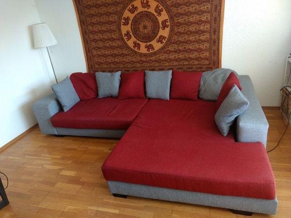 Großes Ecksofa Bordeaux-Rot 292 cm