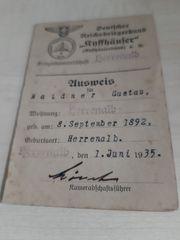 Auweis Deutscher Reichskriegerbund 1935