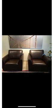 Leder Couch und Sessel