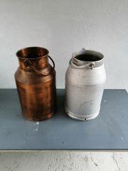 2 Milchkannen eine aus Aluminium