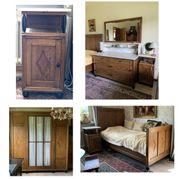 Antikes Schlafzimmer Eichenmöbel massiv komplett