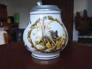 2 Bierkrüge Porzellan mit Zinndeckel