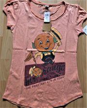 T-Shirt Longshirt orange mit Emblem