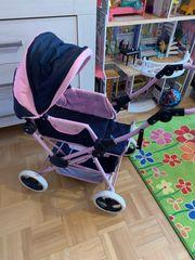 Puppenwagen Pink Dunkelblau