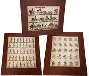 3 antike Militaria Holzschnitte Frankreich