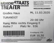 Opernkarte Turandot Karlsruhe 11 03