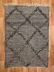 marokkanischer Teppich Zanafi Schafwolle natur