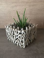Blumentopf Übertopf eckig grau weiß