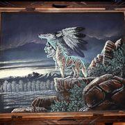 Samtbild Indianer mit Wolf Holzrahmen