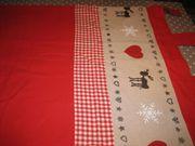 Weihnachts Vorhang hellrot mit Schlaufen