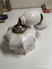 alte Zuglampe Glas Porzellan Shabby