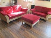 Wohnzimmer - Sitzgarnitur - 3 teilig Bordeaux -