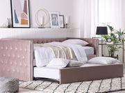 Tagesbett ausziehbar Samtstoff rosa Lattenrost