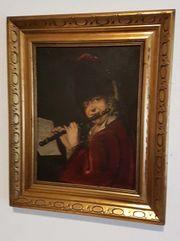 Antik Ölgemälde Dame mit Flöte