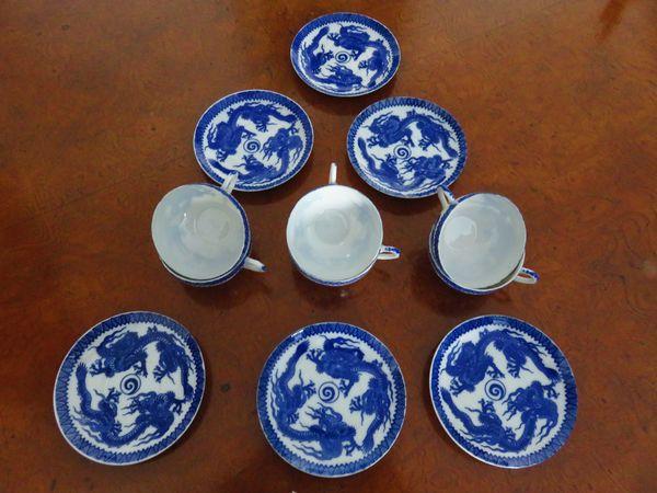 Teegeschirr blauer Drachen: 6 Espressotassen Mokkatassen + Unterteller