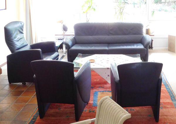 Blaue Sitzgarnitur aus Leder Sofa