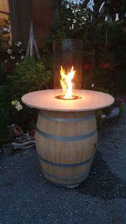 Weinfass Holzfass Terassenfeuer Stehtisch Feuerkorb