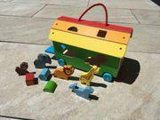 Holz Steckspiel Wagen