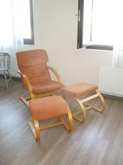 Relax- Schwingsessel mit Holzrahmen und