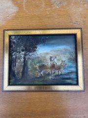 Kleines Gemälde Hirsche modern Goldrahmen