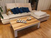 Veloursleder-Couch Sofa in beige 290x85cm
