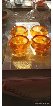 4Teelichthalter gelbes Glas hochwertig