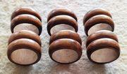 6 Serviettenringe aus edlem Holz -