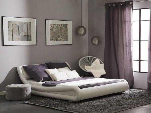 Wasserbett Kunstleder weiß 160 x