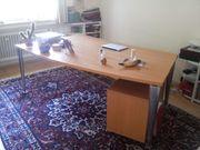 Schreibtisch Holz und Chrom
