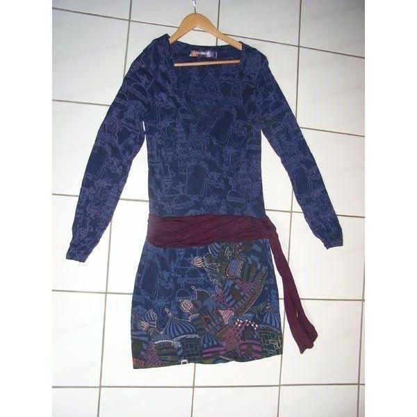 9e29ebc3e32656 NEU langärmeliges Kleid von Desigual in nachtblau Größe S M in ...
