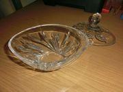 Glasschale mit Deckel oval 18cm