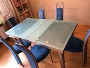 Glasesstisch sechs Stühle