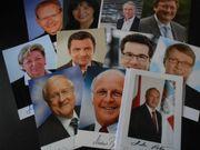 Siegnierte Autogrammkarten Politik Konvolut