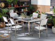 Gartenmöbel Set grau Granit poliert