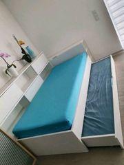 Bett ausziehbar weiß