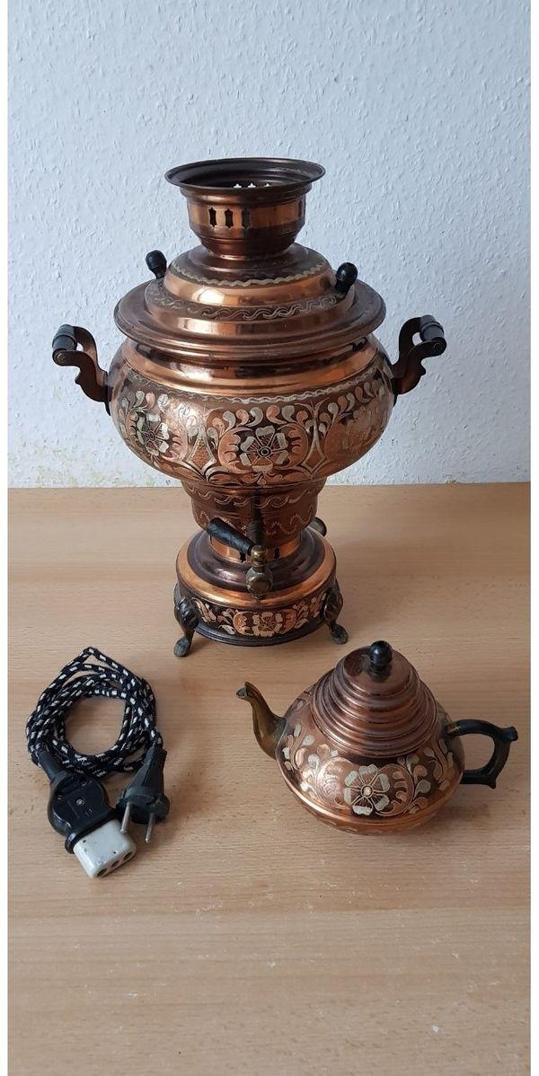 Der Antike Samovar mit Teekanne aus Kupfer Handgefertigt Kupfer