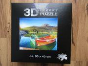 3D-Effekt-Puzzle Motiv Bergsee mit Booten
