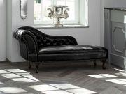 Chaiselongue Kunstleder schwarz linksseitig NIMES